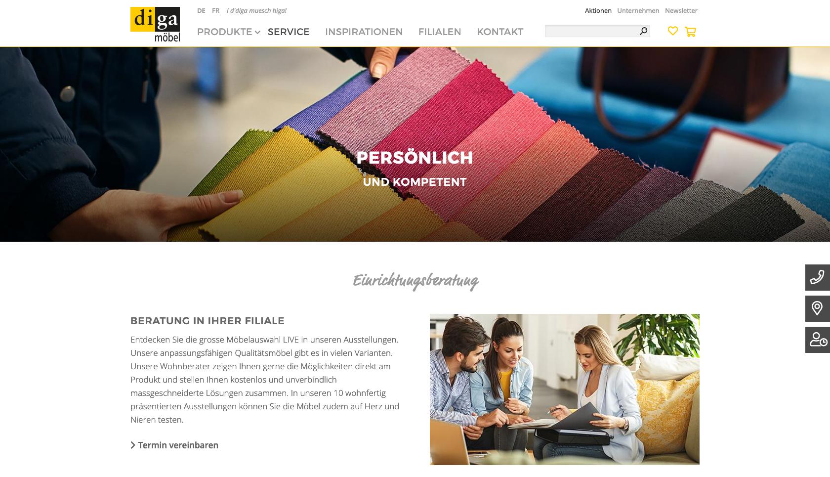 Bildschirmfoto einer Rubik von diga.ch mit grossem Bild
