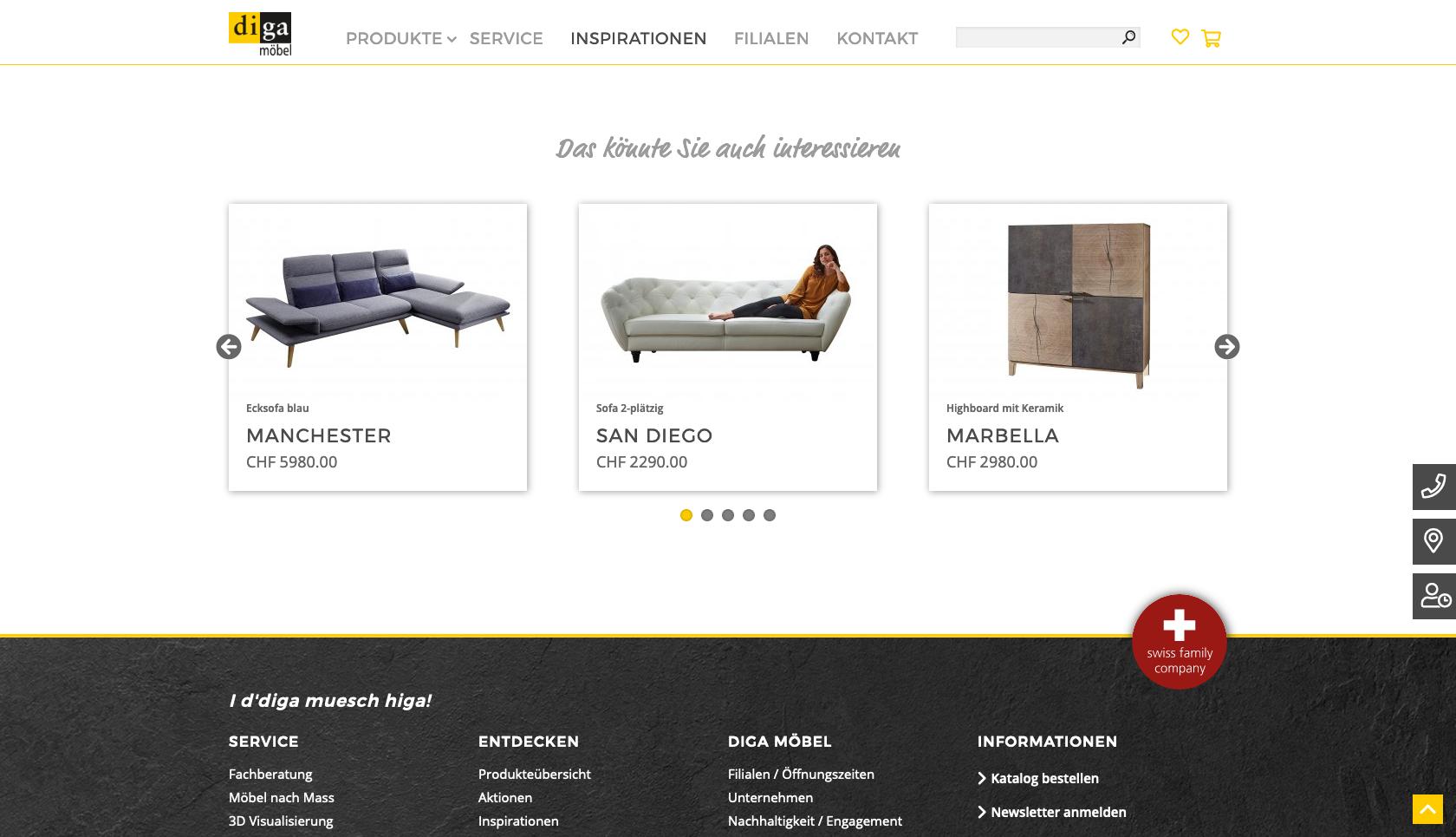 Bildschirmfoto der Website diga.ch mit Carousel