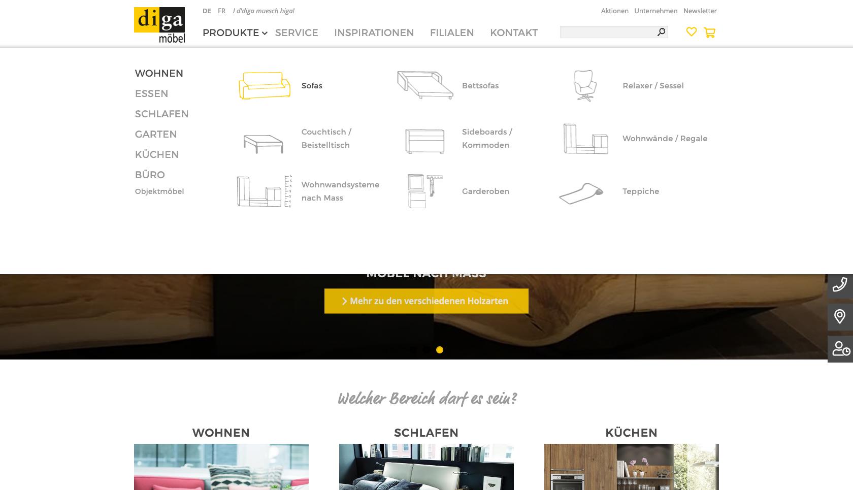 Bildschirmfoto der Website diga.ch mit Megadropdown geöffnet
