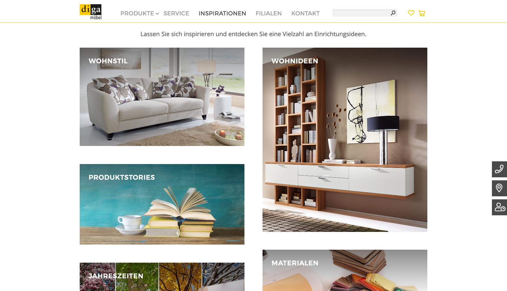 Bildschirmfoto der Website diga.ch mit Übersichtsseite der Rubrik Inspirationen mit Masonry Grid